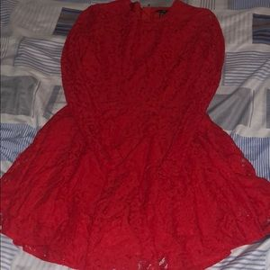 Red Lace Long sleeve Skater Dress